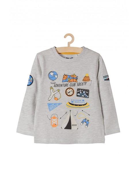 Bluzka dla przedszkolaka- szara z kolorowymi nadrukami