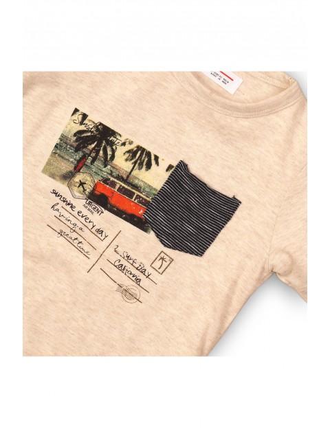 T-shirt ecru z nadrukiem