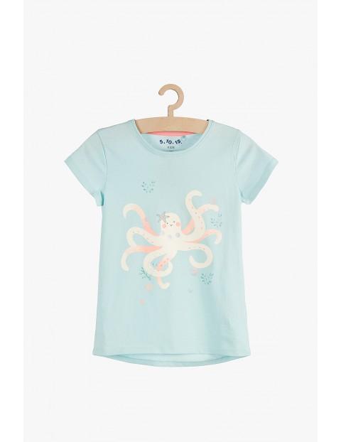T-shirt dziewczęcy bawełniany niebieski Ośmiornica