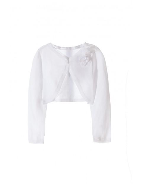 Sweter dziewczęcy- bolerko-białe