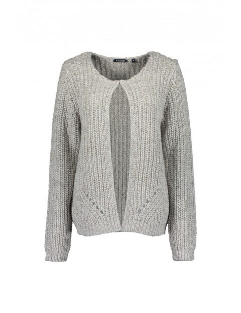 Damski sweter z dzianiny  - szary