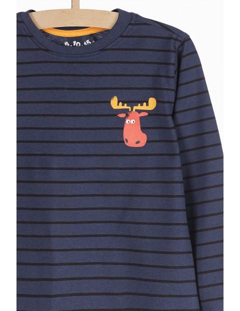 Bluzka dzianinowa dla chłopca- granatowa z łosiem