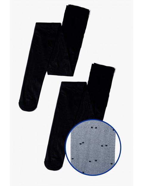 Rajstopy damskie czarne cienkie w kropki 2-pack 20 DEN
