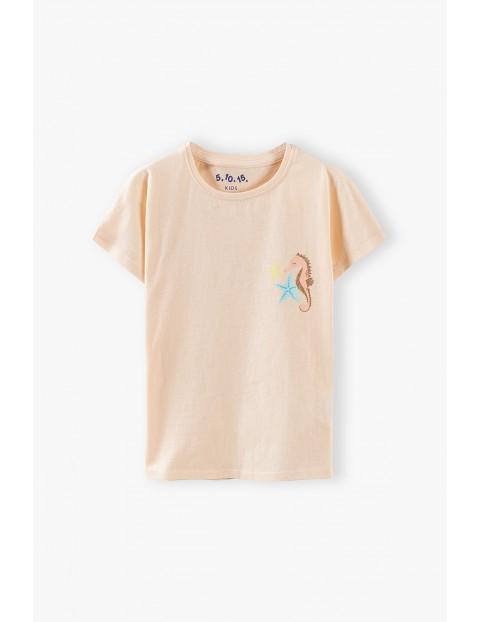 Bluzka dziewczęca z konikiem morskim - różowa