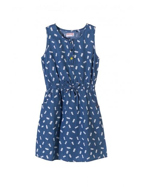 Sukienka dziewczęca bawełniana-niebieska