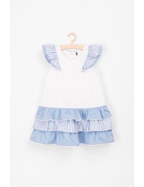Sukienka niemowlęca z ozdobnymi niebieskimi falbankami