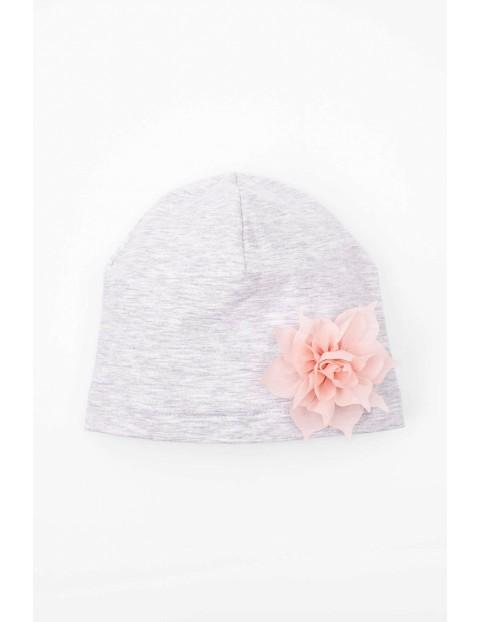 Dzianinowa czapka dla dziewczynki-szara