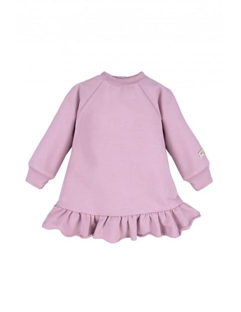 Bawełniana sukienka dresowa - fioletowa