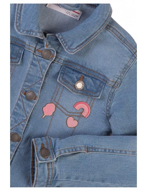 Kurtka niemowlęca jeansowa- niebieska z naszywkami