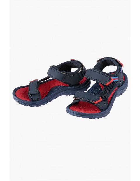 Sandały chłopięce granatowo-czerwone
