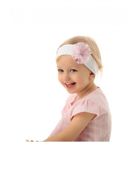 Opaska niemowlęca na głowę z różowym kwiatkiem