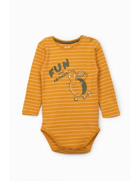 Żółte body niemowlęce z długim rękawem - Fun with friends