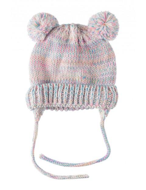 Czapka dla dziewczynki- zimowa wiązana z polarową podszewką