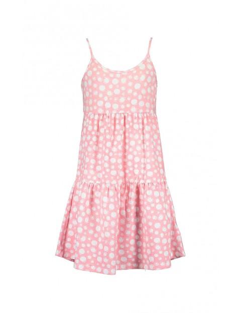 Sukienka dziewczęca różowa na cienkich ramiączkach w kropki