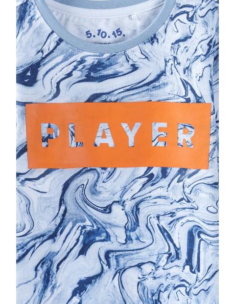 Bawełniana bluzka chłopięca z długim rękawem z napisem Player