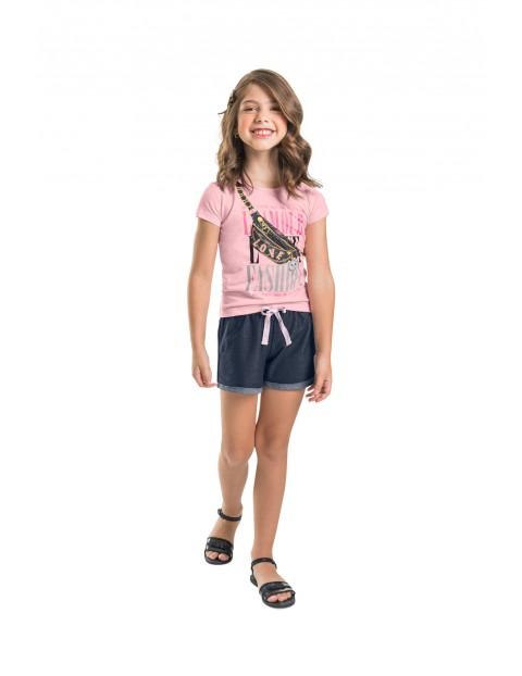 T-shirt dziewczęcy różowy z nadrukiem