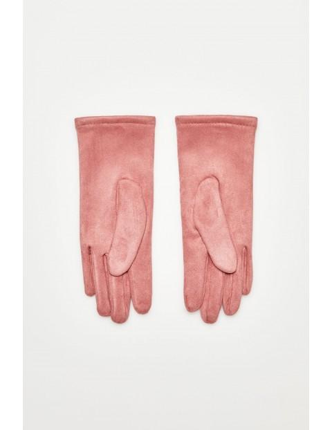 Rękawiczki z aplikacjami - różowe