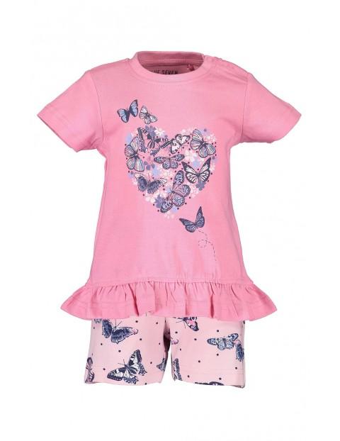 Komplet dziewczęcy różowy w motylki koszulka i spodenki