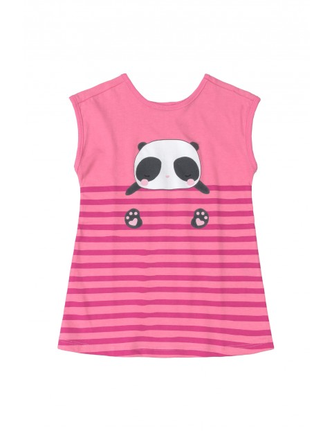 Sukienka niemowlęca z pandą - różowa