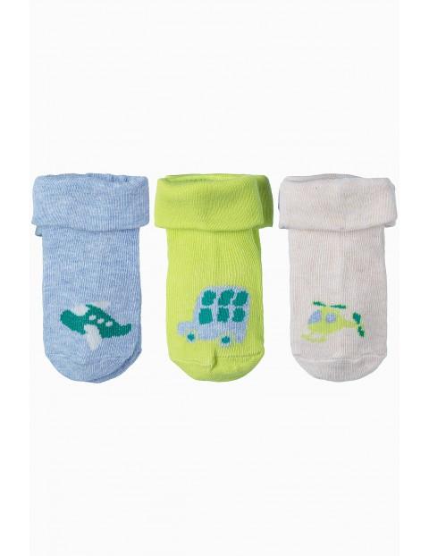 Kolorowe skarpetki niemowlęce w pojazdy 3pak