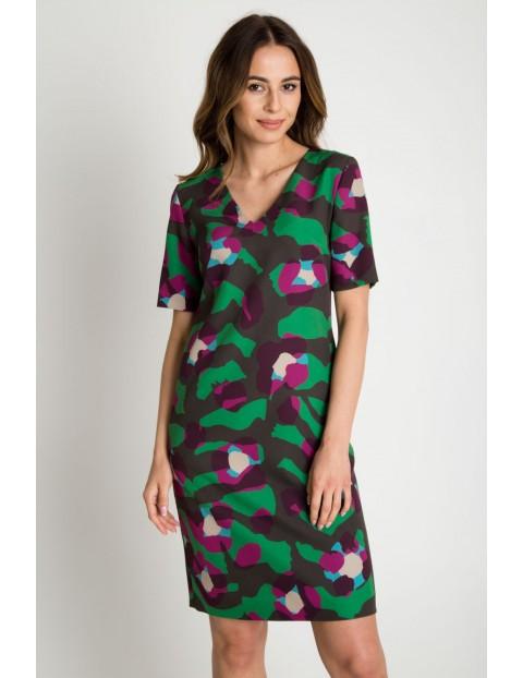 Trapezowa sukienka z krótkim rękawem