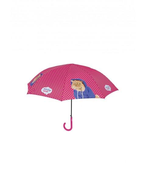 Parasol różowy z kotem