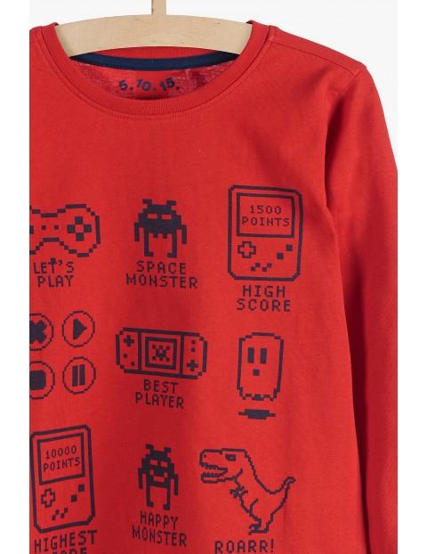 Bluzka chłopięca czerwona z motywem gry