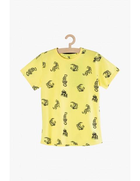 T-Shirt chłopięcy żółty dzianinowy