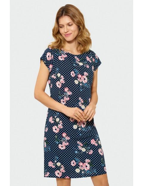 Sukienka damska z krótkim rękawem- granatowa w kwiaty