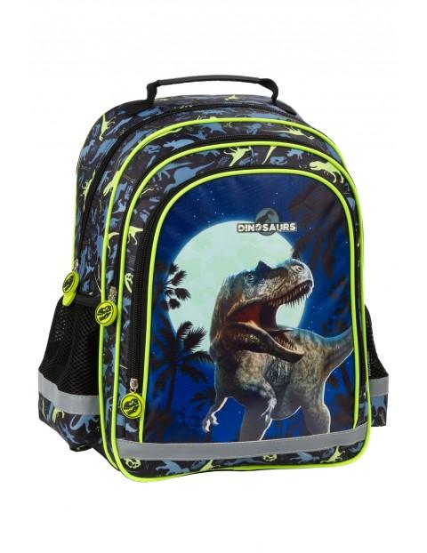 Plecak szkolny z dinozaurem- elementy odblaskowe