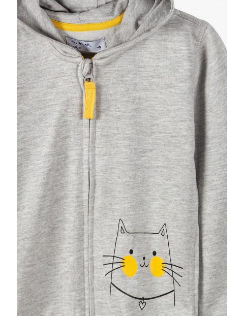 Bluza dresowa dziewczęca  z kotkiem - szara