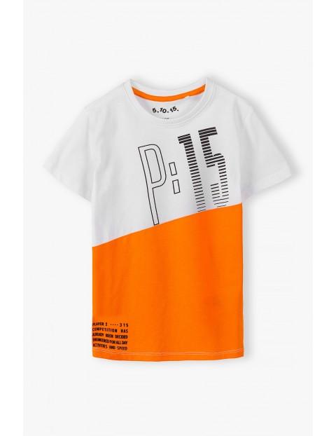 Bawełniany t-shirt chłopięcy biało- pomarańczowy