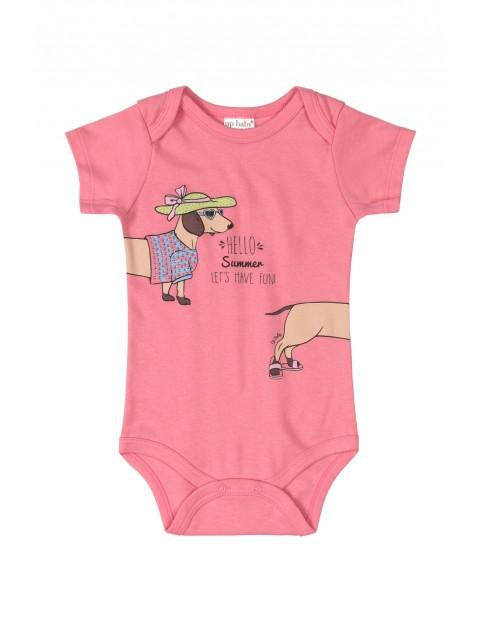 Body niemowlęce z pieskiem - różowe