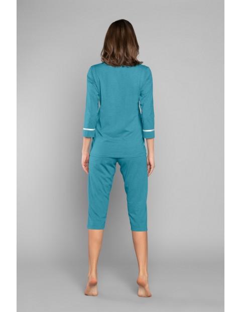 Dwuczęściowa piżama damska w kolorze morskim