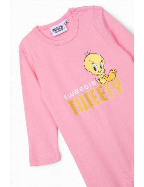 Różowy dzianinowy pajac dla dziewczynki Tweety