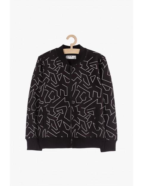 Bluza chłopięca dresowa czarna w geometryczne wzory