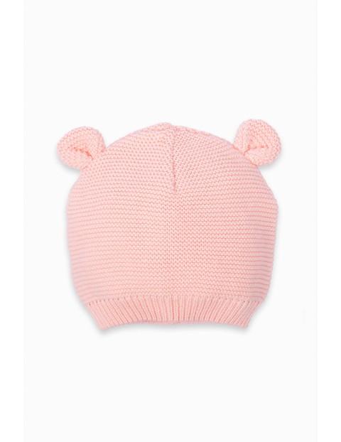 Czapeczka przejściowa niemowlęca z uszami - różowa