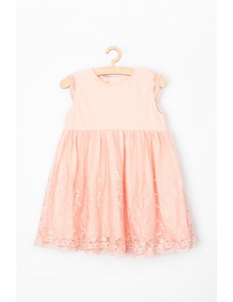 Elegancka sukienka dla niemowlaka - różowa z koronką