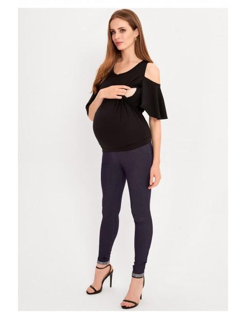 Szara bluzka ciążowa i dla karmiącej mamy z odkrytymi rękawami