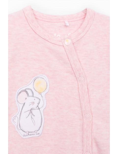 Pajac niemowlęcy z myszką bawełniany- różowy