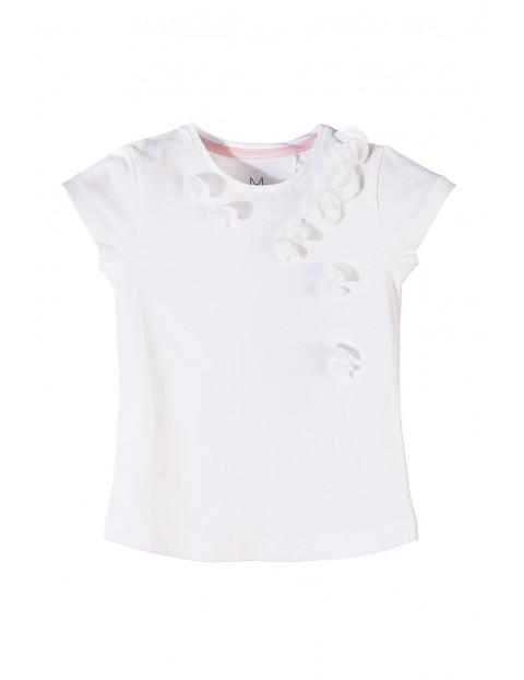 Bluzka dziewczęca biała z ozdobnymi kwiatkami