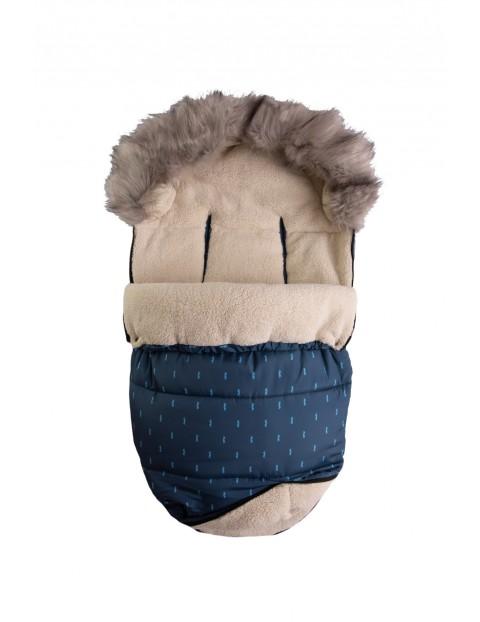 Śpiwór i mufka Venus- granatowy z niebieskim wzorem