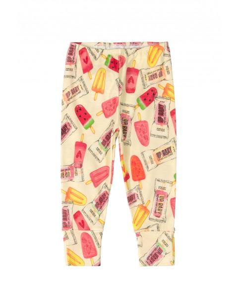 Spodnie niemowlęce dzianinowe- kolorowe nadruki