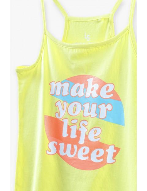T-shirt dziewczęcy  z napisem Make Your Life Sweet - żółty
