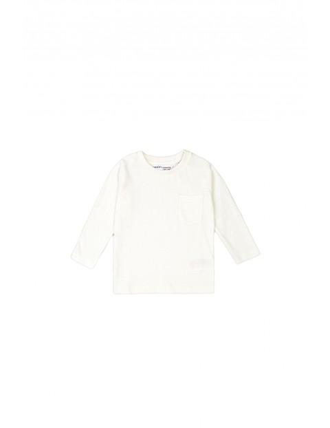 Bluzka niemowlęca bawełniana- biała z długim rękawem