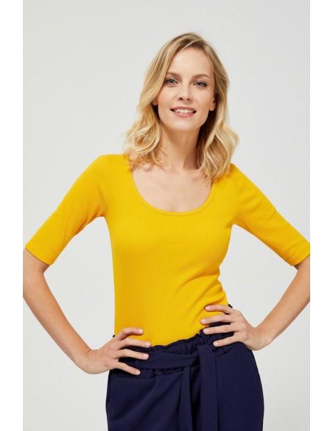 Żółta bluzka damska z prążkowanej dzianiny