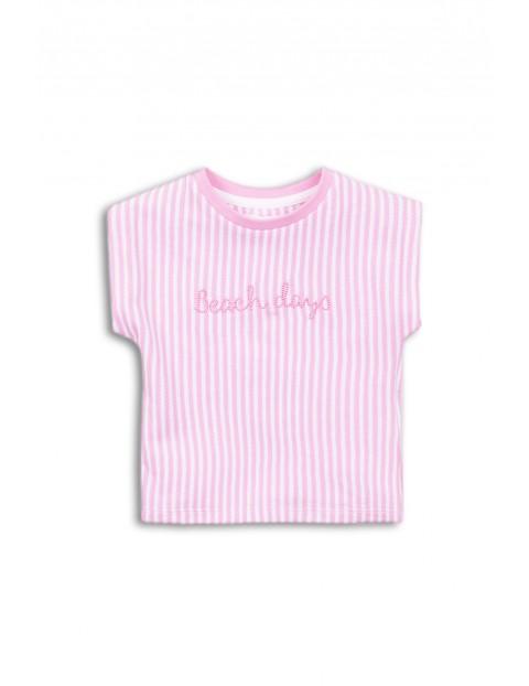 T-shirt niemowlęcy bawełniany różowy w paski