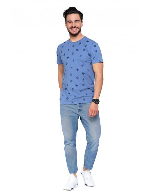 T-shirt bawełniany męski z drobnym nadrukiem- niebieski