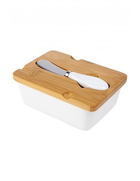 Maselnica z pokrywką i nożykiem Adria w kolorze białym 15,5x11 cm