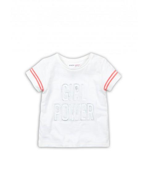 Bawełniany t-shirt dziewczęcy z napisem Girl Power - biały